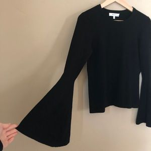 MILLY Bell Sleeve Knit Black Boho Chic Sweater S